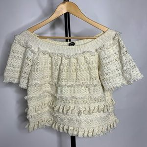 Love Sam Crochet Lace Ivory Off The Shoulder Top
